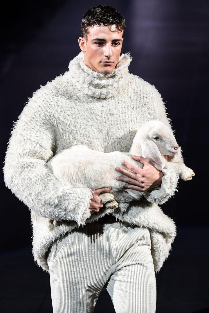 Un mannequin porte un agneau lors du défile Dolce & Gabbana automne/hiver 2020/21 à la fashion week de Milan, le 11 janvier 2020. (MIGUEL MEDINA / AFP)