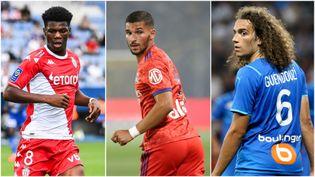 Aurélien Tchouameni (Monaco), Houssem Aouar (Lyon) et Mattéo Guendouzi (Marseille) entrent en lice en Ligue Europa le 15 septembre 2021. (AFP)