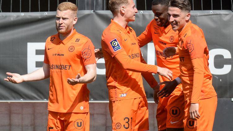 L'attaquant de Montpellier Stephy Mavididi célèbre son but face à Angers, le 4 avril 2021, mais son équipe n'a pas pu tenir son avantage au score. (JEAN-FRANCOIS MONIER / AFP)