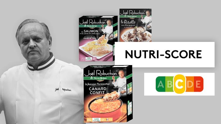 Certains des plats préparés Joël Robuchon vendus par Fleury Michonobtiennent la note – moyenne – de C avec le Nutri-Score. (MARTIN BUREAU / AFP / FLEURY MICHON / FRANCEINFO)