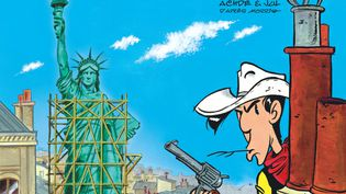 "Couverture de l'album ""Un cow-boy à Paris"", 80e album de Lucky Luke, paru chez Dargaud le 7 novembre 2018. (ACHDE ET JUL / LUCKY COMICS)"