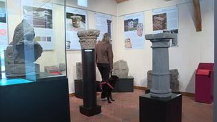 Une maîtresseet son chien visitent la maison archéologique des Combrailles. (France 3 Clermont-Ferrand)