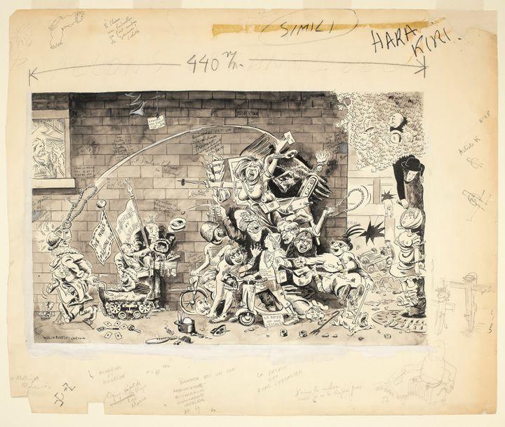 """Georges Wolinski, """"Allons enfants..."""", Hara-Kiri, n°48, février 1965, p44-45. (Beaux-Arts de Paris et succession Wolinski)"""