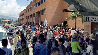 L'aéroport deKatmandou (Népal), le 25 avril 2015 (AXEL HAGER / DPA / AFP)