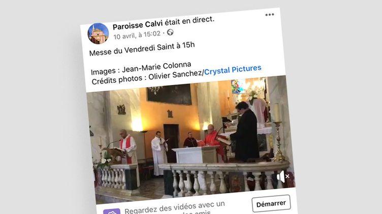La messe du Vendredi Saint diffusée en vidéo sur la page Facebook de la paroisse de Calvi. (CAPTURE D'ECRAN)