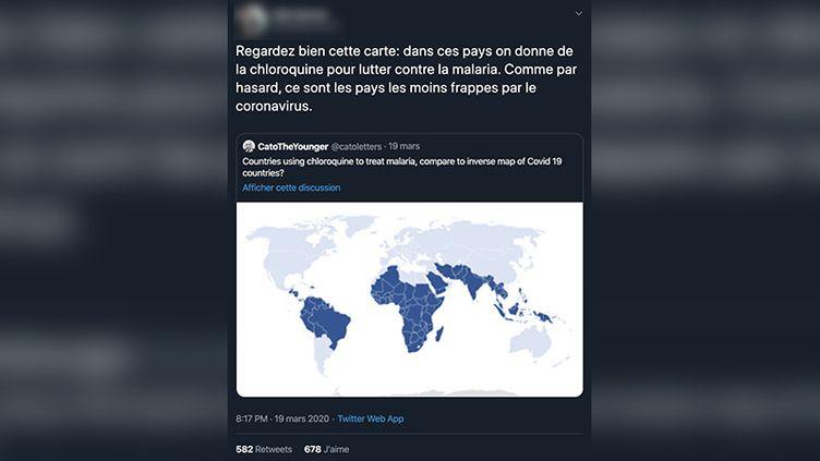 Capture d'écran d'un post Twitter présumant un lien entre l'utilisation de la chloroquine dans les pays touchés par le paludisme et l'absence de coronavirus. (CAPTURE ECRAN)