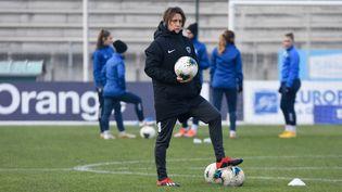 L'entraineuse parisienne Sandrine Soubeyrand, le 25 janvier 2020. (ANTOINE MASSINON / A2M SPORT CONSULTING / AFP)