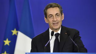 Le président de l'UMP, Nicolas Sarkozy, lors de son discours du 29 mars 2015 à l'issue du second tour des élections départementales, à Paris. (ERIC FEFERBERG / AFP)
