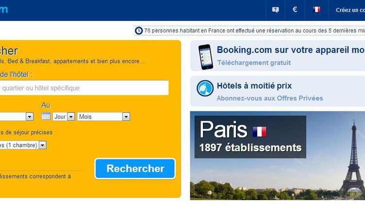 Capture d'écran du site de réservation en ligne Booking.com. (BOOKING / FRANCETV INFO)