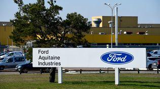 L'entrée du site Ford de Blanquefort, en Gironde. (NICOLAS TUCAT / AFP)