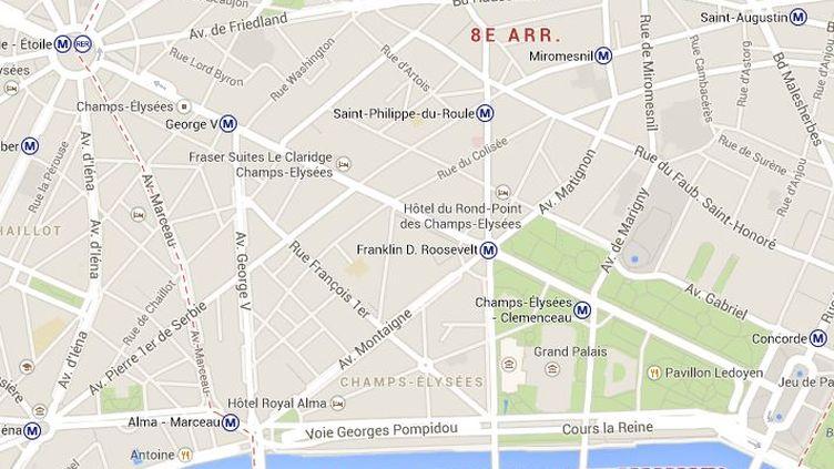 L'homme a sorti une arme de poing et tiré sur des policiers lundi 21 avril 2014 dans le 8e arrondissement de Paris, avant d'être interpellé sans faire de victime. ( GOOGLE MAPS / FRANCETV INFO )
