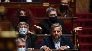 Les députés de La France insoumise Eric Coquerel, Alexis Corbière, Bénédicte Taurine, Jean-Luc Melenchon and Clémentine Autain à l'Assemblée nationale, le 6 octobre 2020. (CHRISTOPHE ARCHAMBAULT / AFP)