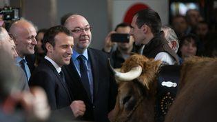 Emmanuel Macron, à l'ouverture du Salon de l'agriculture, le 24 février 2018. (CONSTANT FORME-BECHERAT / HANS LUCAS / AFP)