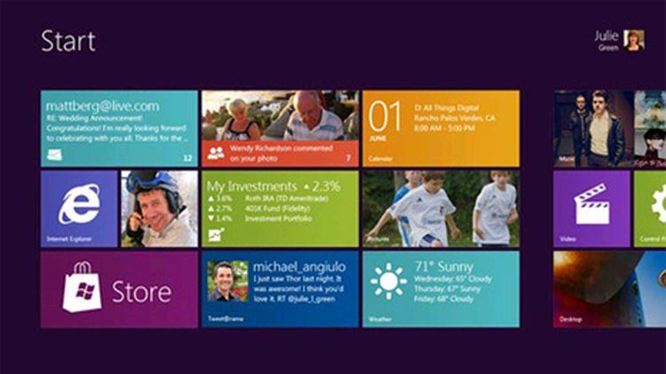 Aperçu de l'interface du menu Démarrer de Windows 8, très inspirée de Windows Phone 7 (Microsoft / Windows)