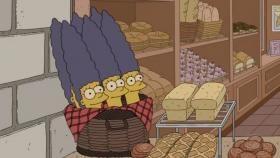 Homer croit voir sa femme Marge dans des baguettes de pain. (FOX)