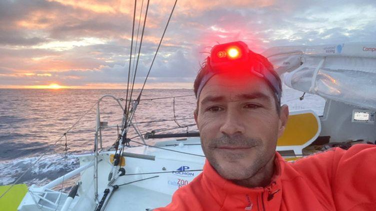 Clément Giraud à bord de son Imoca Compagnie du Lit / Jiliti