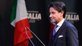 Giuseppe Conte lors de la présentation du futur cabinet de Luigi Di Maio, le leader du Mouvement 5 étoiles (M5S), avant les législatives, le 1er mars 2018 à Rome. (SILVIA LORE / NURPHOTO)