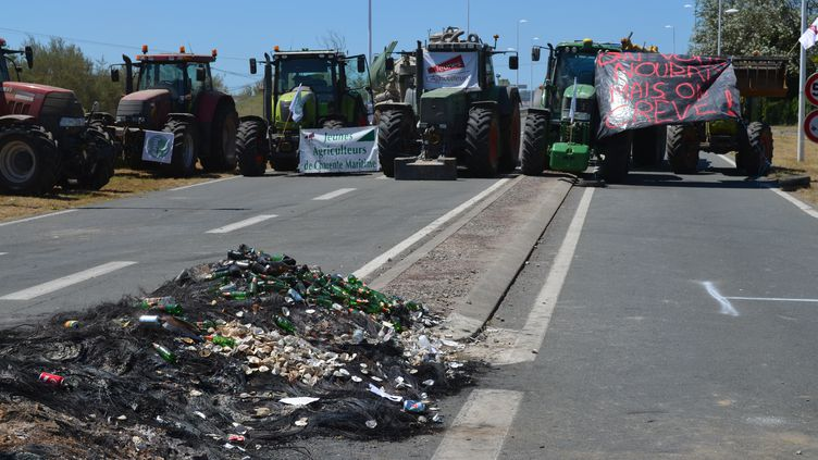 Des agriculteurs bloquent le pont qui relie Marennes à l'île d'Oléron (Charente-Maritime) le 23 juillet 2015. (CITIZENSIDE / FABRICE RESTIER / AFP)