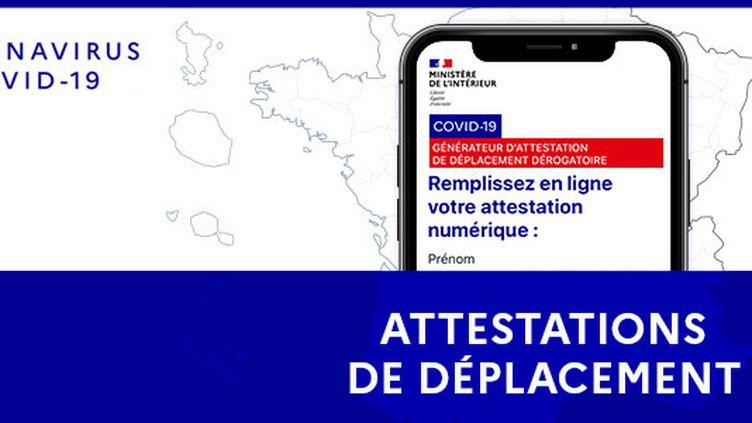 Capture d'écran de la page du site du ministère de l'Intérieur dédiée aux attestations. (MINISTERE DE L'INTERIEUR)