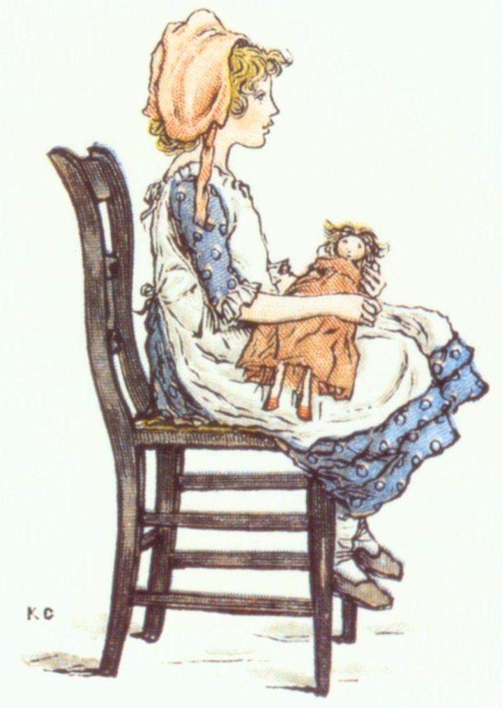 """Polly"", Kate Greenaway, tiré de ""The Queen of the Pirate Isle"", de Bret Harte.Facsimile de l'édition originale, 1885  (Wikimedia)"