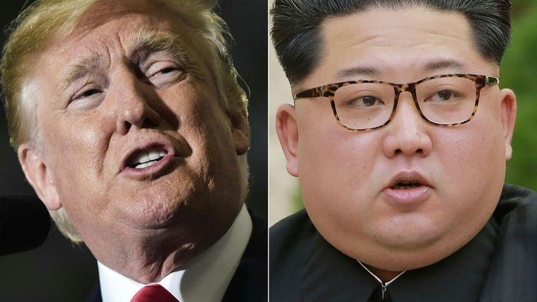 Le président américain Donald Trump, face audirigeant nord-coréen Kim Jong-un. (MANDEL NGAN / KCNA VIA KNS)