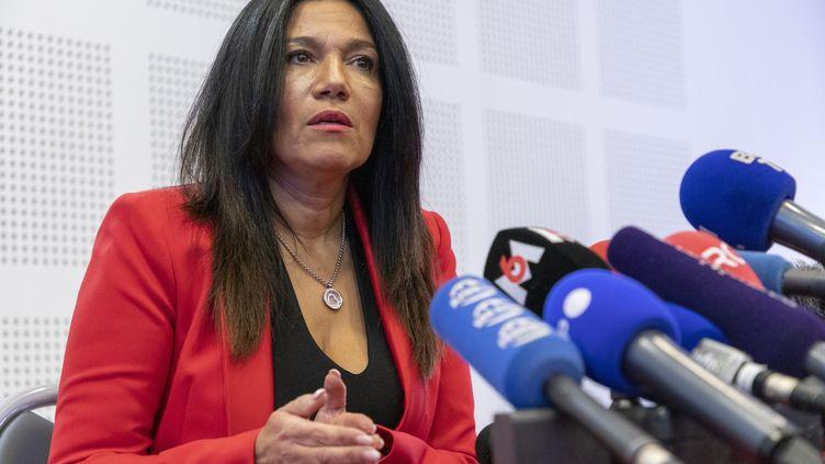 Samia Ghali à Marseile lors d'une conférence de presse le 17 décembre 2020. (SPEICH F / MAXPPP)