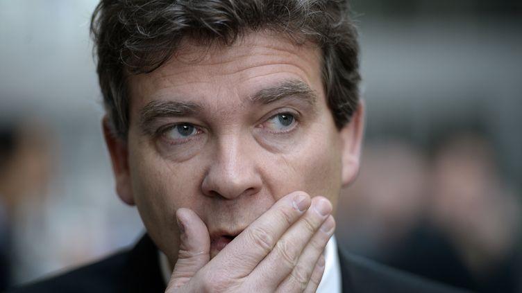 Arnaud Montebourg, le 22 avril 2014 à Brignais (Rhône-Alpes). (PHILIPPE DESMAZES / AFP)