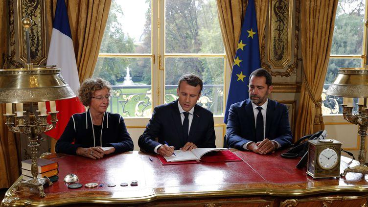 Emmanuel Macron signe les ordonnances modifiant le Code du travail, vendredi 22 septembre 2017 au palais de l'Elysée. (PHILIPPE WOJAZER / AP / SIPA)