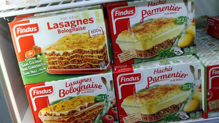 Findus France a retiré des lasagnes, de lamoussaka, ou encore du hachis parmentiersusceptibles de contenir de la viande de cheval le 8 février 2013.Sept enseignes de la grande distribution ont fait de même deux jours après. (MAXPPP)