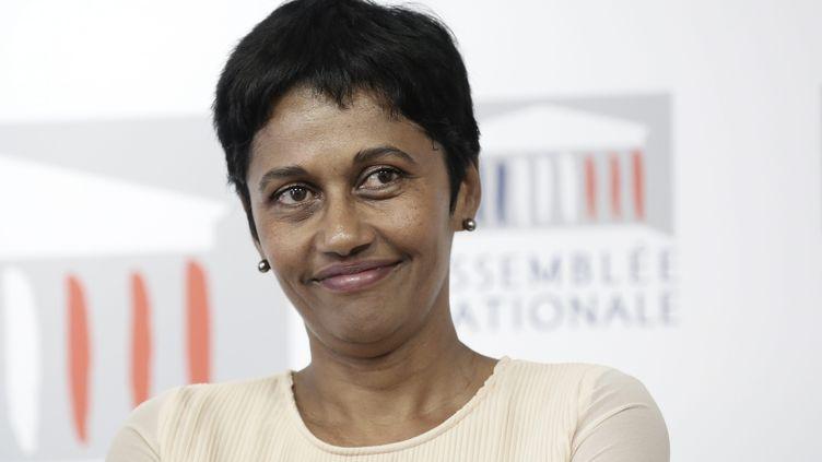 Ericka Bareigts,députée de la Réunion, lors d'un point presse à l'Assemblée nationale, à Paris, le 17 septembre 2014. (MAXPPP)