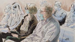 La famille d'Alexia Daval, dont ses parents, au procès de Jonathann Daval, le 16 novembre 2020 devant la cour d'assises de la Haute-Saône, à Vesoul. (VALENTIN PASQUIER / FRANCE TELEVISIONS)