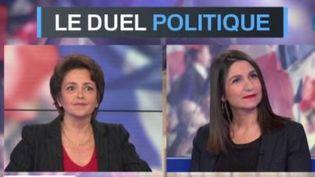 Anne Rosencher, journaliste à L'Express et Judith Waintraub, reporter au Figaro, sont sur le plateau du Grand Soir 3 pour le duel politique du jeudi 27 avril. Elles analysent l'absence de front républicain autour d'Emmanuel Macron lors de ce second tour. (FRANCE 3)