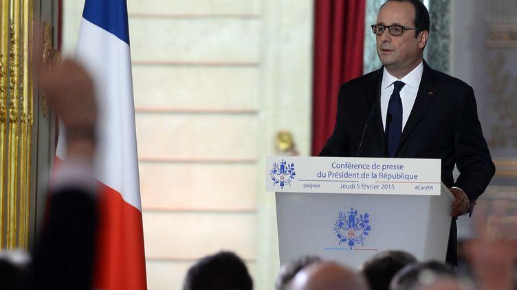 Le président de la République, François Hollande, s'exprime lors d'une conférence de presse semestrielle, au palais de l'Elysée, à Paris, le 5 février 2015. (ALAIN JOCARD / AFP) (ALAIN JOCARD / AFP)