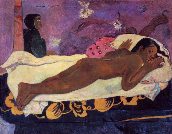 """Paul Gauguin, """"Manaó tupapaù (L'Esprit veille, dit aussi L'Esprit des morts veille)"""", 1892, Buffalo, New-York, collection Albright-Knox Art Gallery, collection A. Conger Goodyear  (Albright-Knox Art Gallery)"""