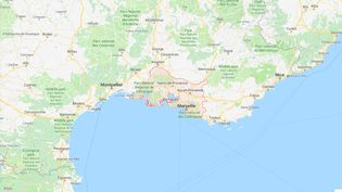 """Capture d'écran pointant le département des Bouches-du-Rhône où trois cas de bébés nés sans bras ont été signalés, selon """"Le Parisien"""" daté du 21 janvier 2019. (GOOGLE MAPS)"""