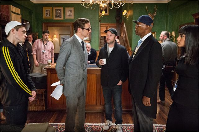 "Matthew Vaughn, Samuel L. Jackson, Sofia Boutella, Taron Egerton dans ""Kingsman : services secretrs"" de Matthew Vaughn  (20th Century Fox)"