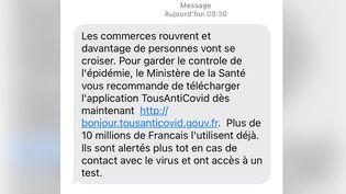Capture d'écran d'un sms envoyé par le gouvernement incitant au téléchargement de l'application TousAntiCovid. (CAPTURE D'ECRAN SMS)