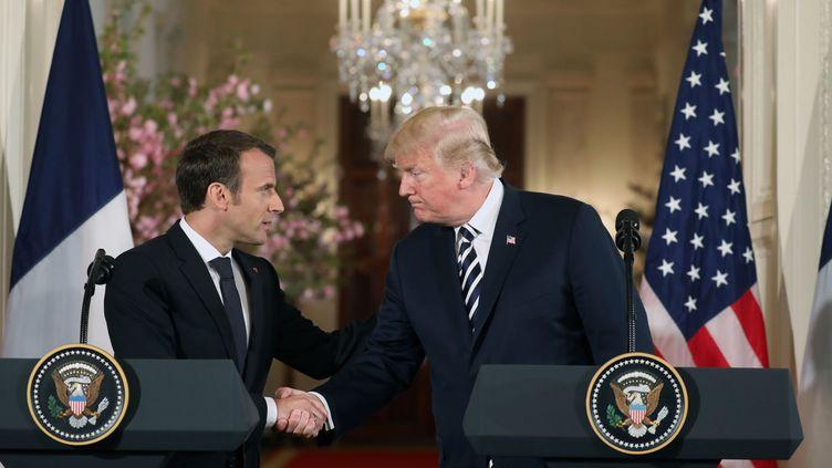 Emmanuel Macron et Donald Trump à la Maison Blanche, mardi 24 avril 2018. (LUDOVIC MARIN / AFP)