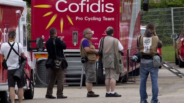 Le cycliste Rémy Di Grégorio, misen garde à vue mardi 10 juillet, a été suspendu par sa formationCofidis. (JOEL SAGET / AFP)