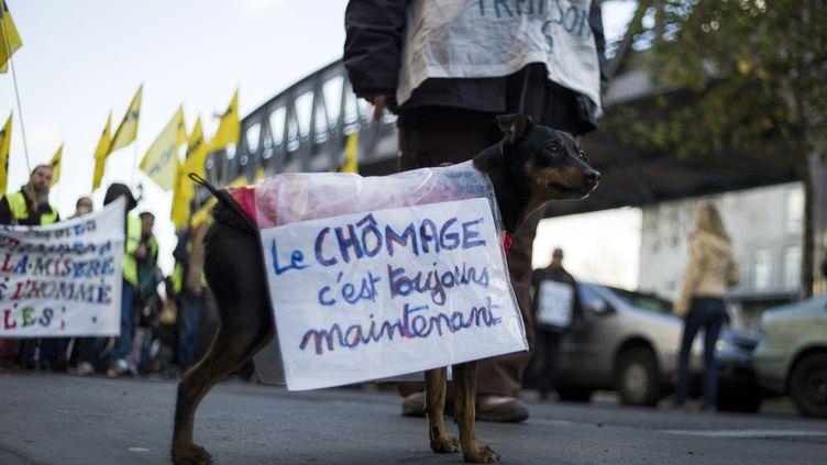 Dans une manifestation contre le chômage, le 1er décembre 2012 à Paris. (FRED DUFOUR / AFP)