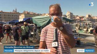 Le journaliste Frédéric Renard, en duplex depuis Marseille, le 8 août 2020. (FRANCE 3)