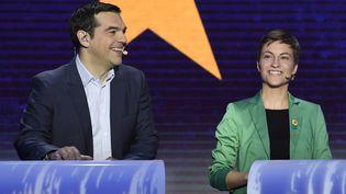Le Grec Alexis Tsipras et l'Allemande Ska Keller s'affrontent lors du grand débat européen entre les candidats à la présidence de la Commission, le 15 mai 2014, à Bruxelles. (JOHN THYS / AFP)
