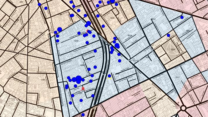 Carte de l'emplacement des immeubles arborant un drapeau français dans les 10e et 11e arrondissements de Paris, en mai 2016. (BRIAN CHAUVEL ET SARAH GENSBURGER)