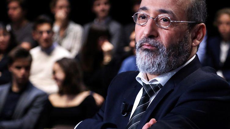 """L'imam de la mosquée de Bordeaux Tareq Oubrou, le 17 octobre 2019, sur le plateau de l'émission """"Vous avez la parole"""". Photo d'illustration. (JACQUES DEMARTHON / AFP)"""