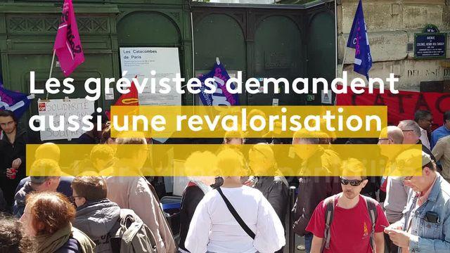 Les revendications des grévistes  des catacombes de Paris