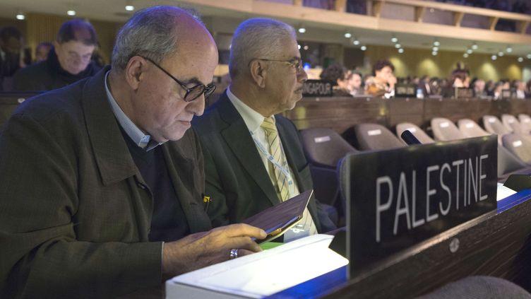 Elias Sanbar, l'ambassadeur de la Palestine à l'Unesco, le 8 novembre 2013 à Paris, à l'occasion de l'assemblée générale de l'organisation. (JACQUES BRINON / AP / SIPA)