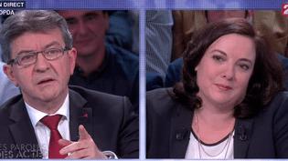"""Jean-Luc Mélenchon et Emmanuelle Cosse sur le plateau """"Des paroles et des actes"""", le 26 mai 2015, sur France 2. (FRANCE 2)"""