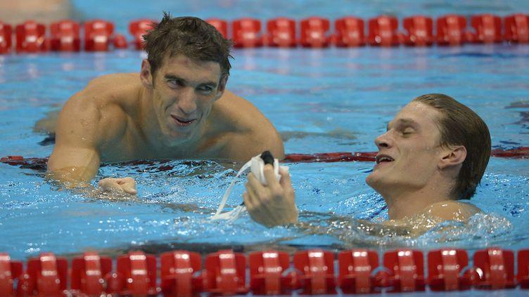 Michael Phelps et Yannick Agnel lors des JO de Londres (MARK J. TERRILL/AP/SIPA / AP)