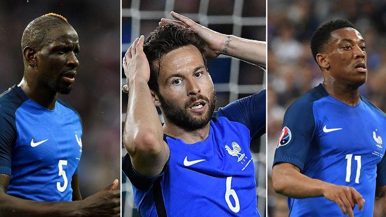 Les joueurs de l'équipe de France Mamadou Sakho, Yohan Cabaye et Anthony Martial