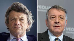 L'ancien ministre de l'Ecologie Jean-Louis Borloo (G), et Antoine Frérot, l'actuel PDG du groupe Veolia. (ERIC PIERMONT / AFP)